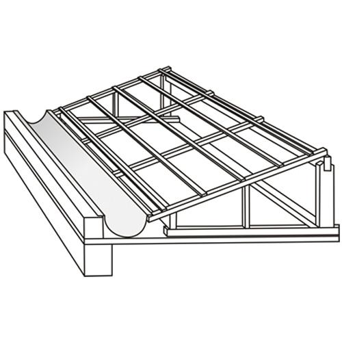 Modelo 3D da aplicação de calha em telhado