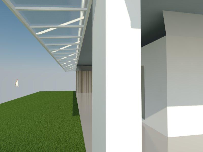 Perspectiva da coberturas com policarbonato compacto da casa de Renata.