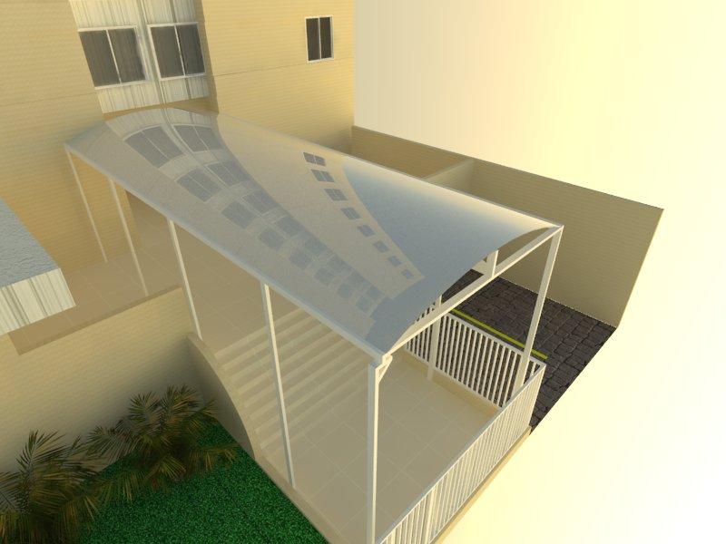 Perspectiva do condomínio Morena Rosa com cobertura de policarbonato compacto.