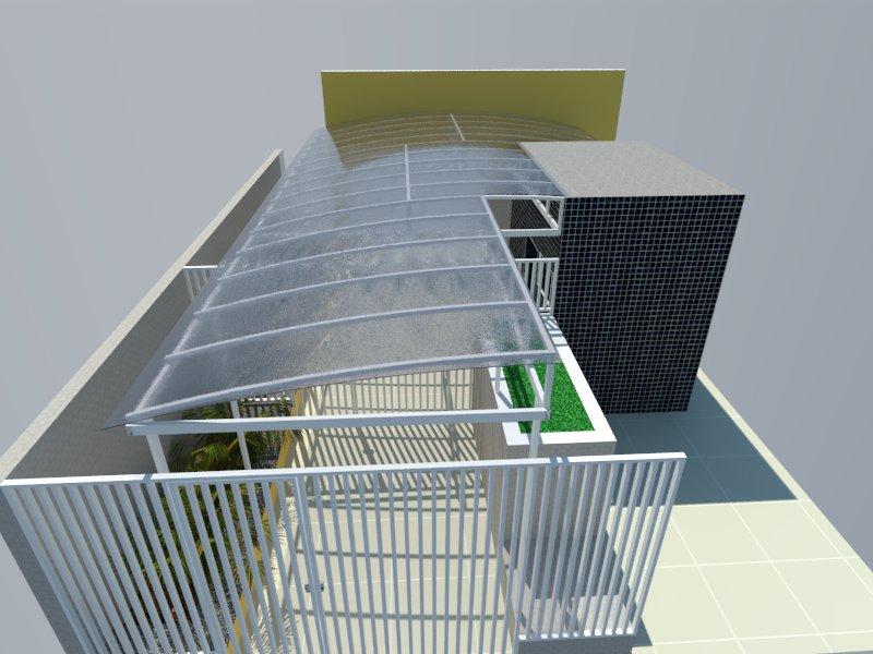 Perspectiva do condomínio Veneza com cobertura de policarbonato compacto.