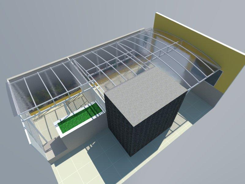 Perspectiva do condomínio Veneza com cobertura de policarbonato compacto