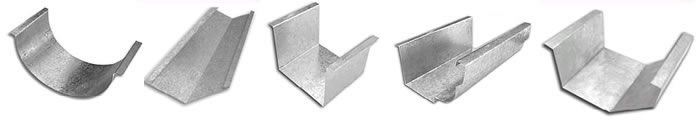 Tipos de calhas para telhado de alumínio e zinco