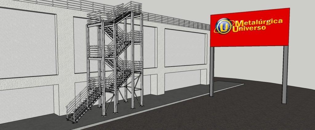 Perspectiva de uma Estrutura Metálica - Escada (BASF) 01